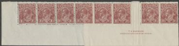 SG 59 ACSC 85(4)z., 85(4)g.,  KGV Head 1½d Deep Red-Brown imprint strip of 12 (AHSMP/425)